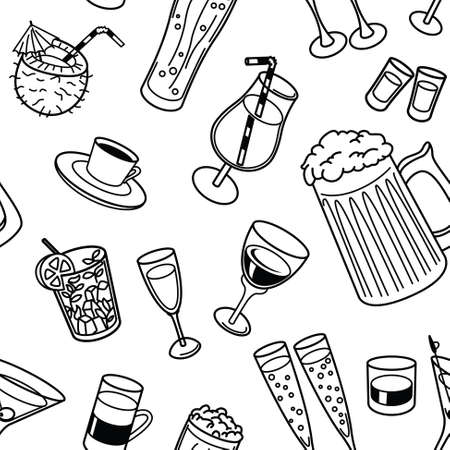 Vector line art illustration with drinks seamless pattern in doodle style Illustration