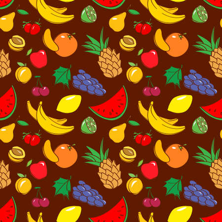 apricot tree: Vector black and white doodle seamless pattern with fruits in cartoon style Illustration