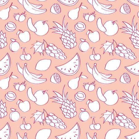 cherry tree: Vector red and white doodle seamless pattern with fruits in cartoon style Illustration