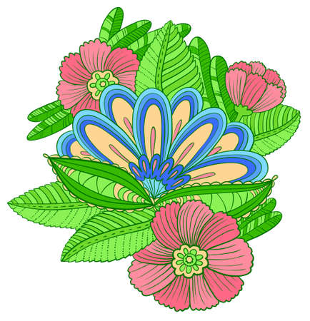 composition art: Vector composition with decorative flowers and leaves in doodle line art style Illustration