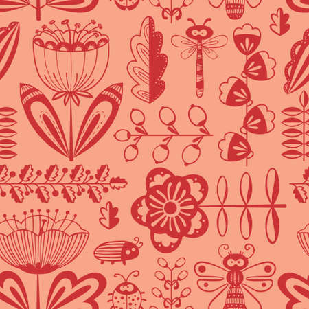 summer cartoon: Vector summer doodle decorative seamless background with flowers, bugs and dragonfly in cartoon style