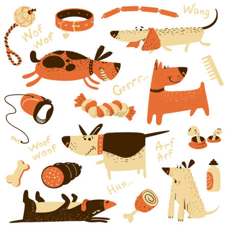 Cute cartoon set with dogs and their ammunition. Vector illustration with pets Ilustração