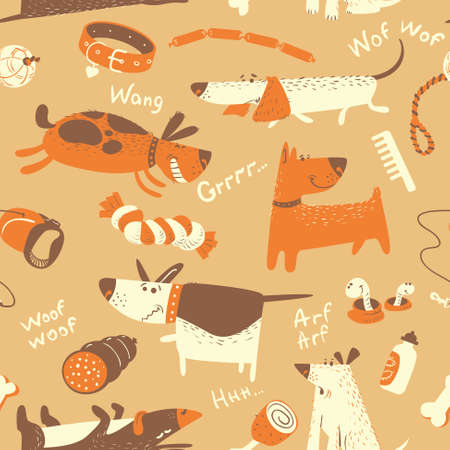 cute dogs: Cute vector seamless pattern with cartoon funny dogs and their ammunition