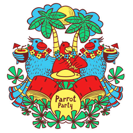 summer trees: Vector illustration of parrot party. Cocktail parrot party in the tropics under the palm trees Illustration