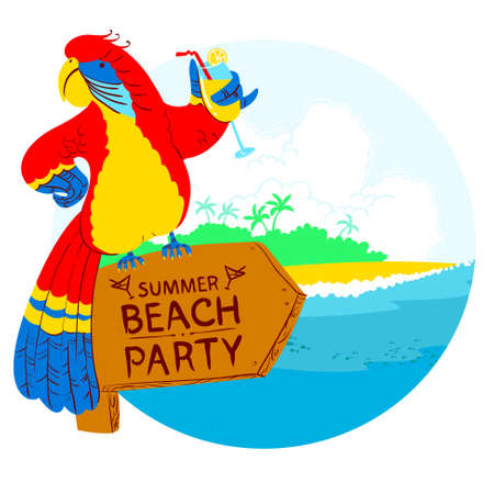 designator: Vector illustration with cartoon red parrot with cocktail on wooden designator to the tropical beach party Illustration