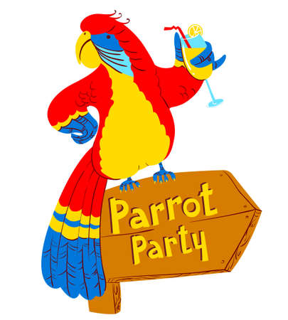 designator: Vector illustration with cartoon red parrot with cocktail on wooden designator to the party Illustration