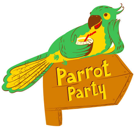 designator: Vector illustration with cartoon green parrot with cocktail on wooden designator to the party