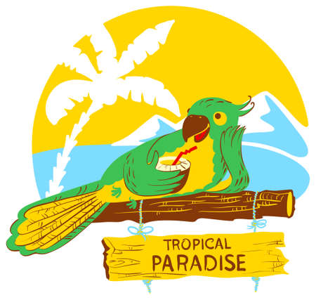 designator: Vector illustration with cartoon green parrot with cocktail on wooden designator to the tropical beach