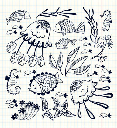 inhabitants: illustration floral set with doodle marine life inhabitants. Cute sketchy fish, jellyfish and seahorses Illustration