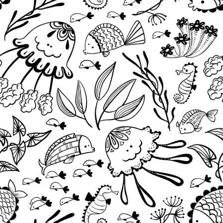 seamless pattern with doodle marine underwater life. Background with cute fish, jellyfish and seahorse in cartoon style
