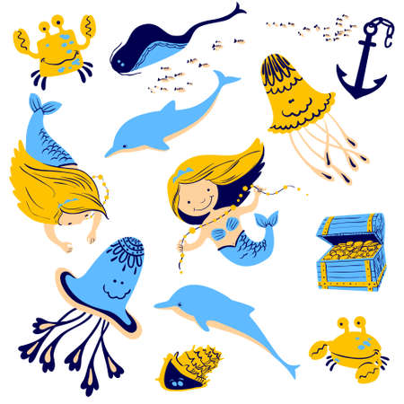 inhabitants: illustration marine set with cartoon mermaid and underwater inhabitants Illustration