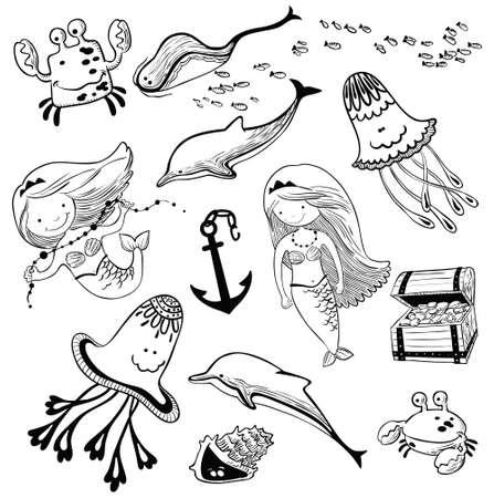 inhabitants: illustration marine set with doodle mermaid and underwater inhabitants