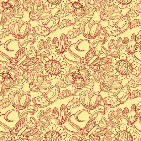grunge floral: floral seamless pattern with butterflies in doodle style