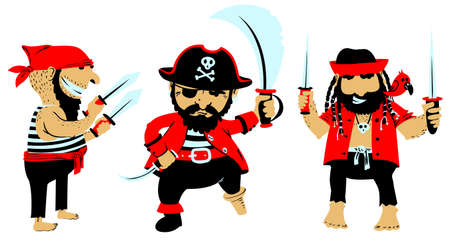 costume eye patch: Set wirh cute cartoon pirates with weapon