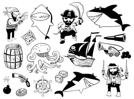 cannonball: cartoon set with pirate and shark characters and nautical objects