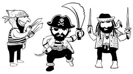 sombrero pirata: Establecer con el avance de los piratas lindos de bosquejo con arma