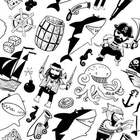 naadloze patroon met piraten en haaien en nautische objecten Stock Illustratie