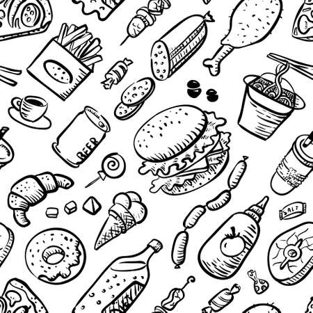 drink food: seamless pattern with fast food products in sketchy style