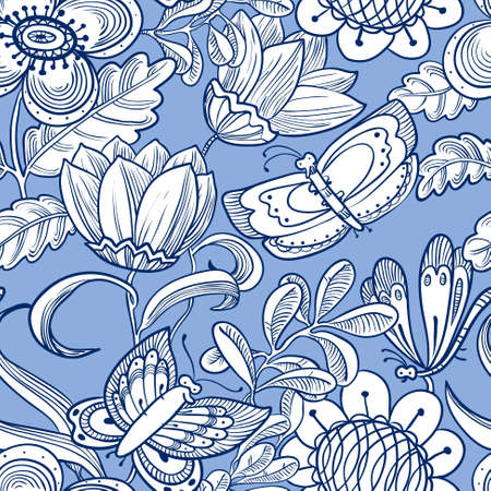 grunge floral: floral seamless pattern with butterflies in doodle line art style