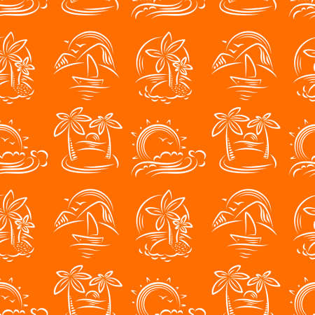idyllic: Idyllic doodle vector seamless pattern with tropical paradise islands and palms