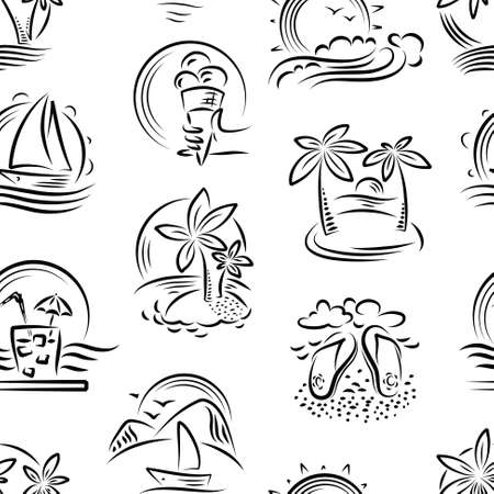 dreamlike: Vector doodle seamless pattern with tropical landscape and summer paradise Illustration