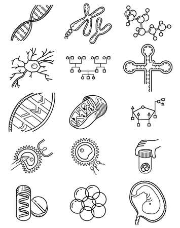 genetic modification: Vector simplicity science icons set with genetic and microbiologic objects Illustration