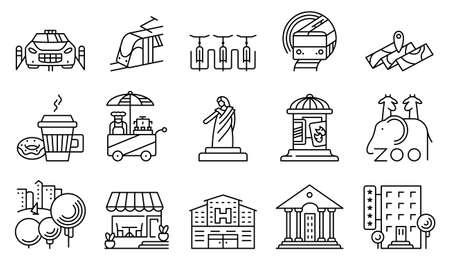 show bill: Vector de la línea simples y ubicaciones delgadas y de la ciudad de conjunto de iconos