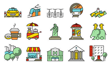 show bill: Vector line simple and thin locations and city icons set