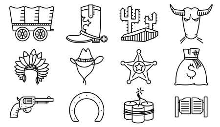 western: Vector line art minimalistic thin and simple cowboy and western  icons set