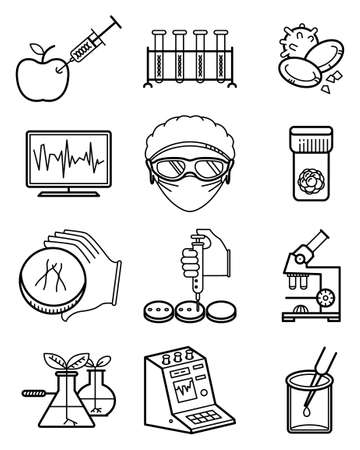Vector simplicity science and genetic laboratory icons set.