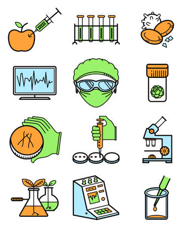 genetic modification: Vector simplicity science and genetic laboratory icons set.
