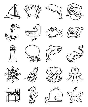 thin shell: Vector thin and simple line style marine and nautical icons set
