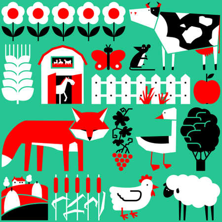Vector cute flat set with farm objects and animals Illustration