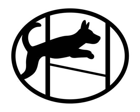 Agiliti chien sport mascotte mignon silhouette, Sauter chien
