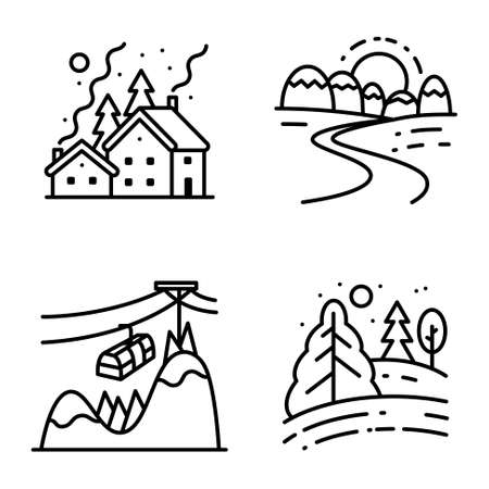 cute house: Vector black and white thin simply icons set with winter cute landscapes in line art style