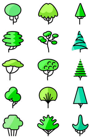 shapes cartoon: Vector thin and simply line art icons set with trees