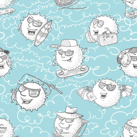 surfing the net: Vector doodle seamless pattern with sun characters and summer activity Illustration
