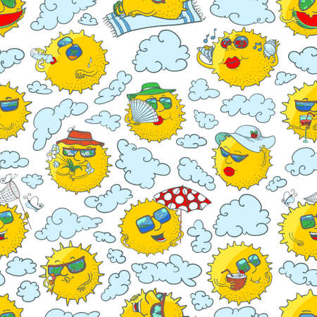sunglasses recreation: Vector doodle summer seamless pattern with sun characters in the clouds