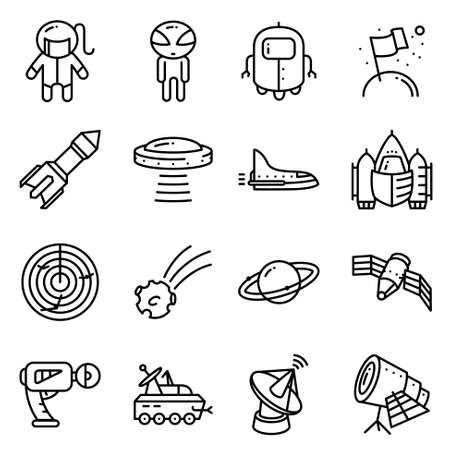 Vector thin simply icons set with space tehlology, UFO and alien. Black line art illustration Illustration