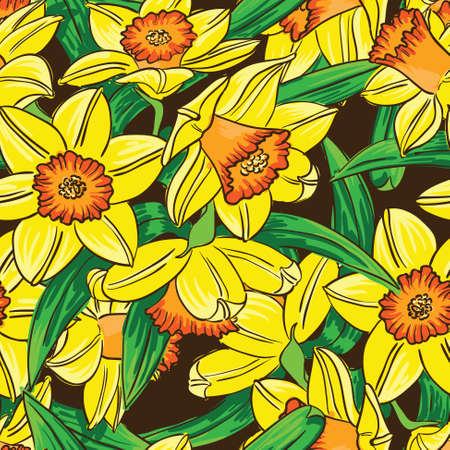 jonquil: Vector seamless pattern with narcissus flowers in line art style Illustration
