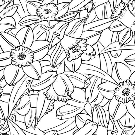 jonquil: Vector black and white seamless pattern with narcissus flowers in doodle style