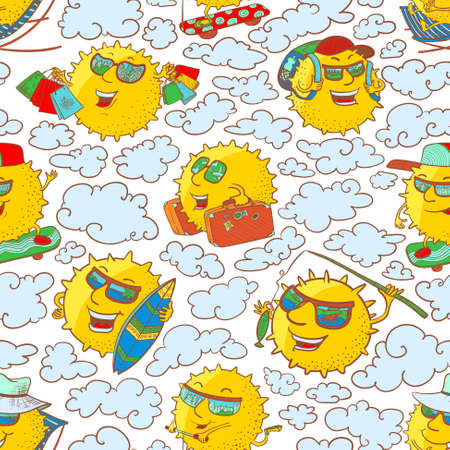 surfing the net: Vector doodle seamless pattern with sun characters in summer activity