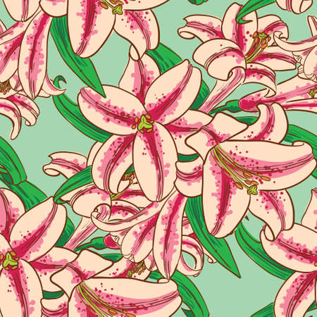 pistil: Vector seamless pattern with lily flowers in doodle line art style