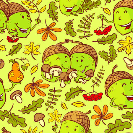 acorn seed: Fall season vector seamless pattern with smiling acorn characters and leaves in cartoon style