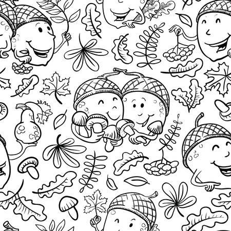 fall leaves on white: Fall season vector black and white seamless pattern with smiling acorn characters and leaves in doodle style