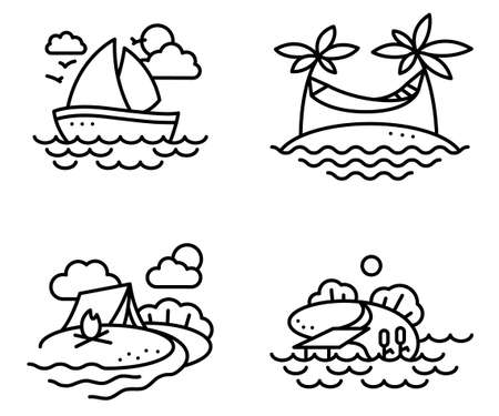 jetty: Summer activity icons set in line thin style with fishing, yachting, relaxing and camping people