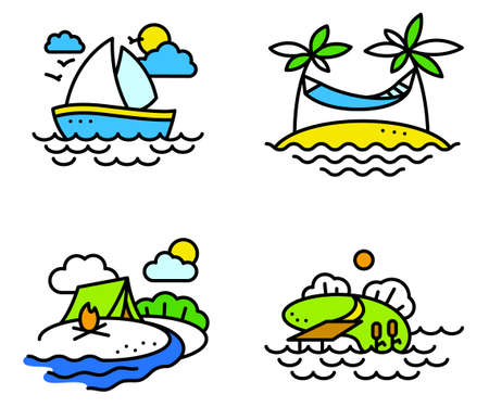yachting: Summer activity icons set in simply thin style with fishing, yachting, relaxing and camping people Illustration
