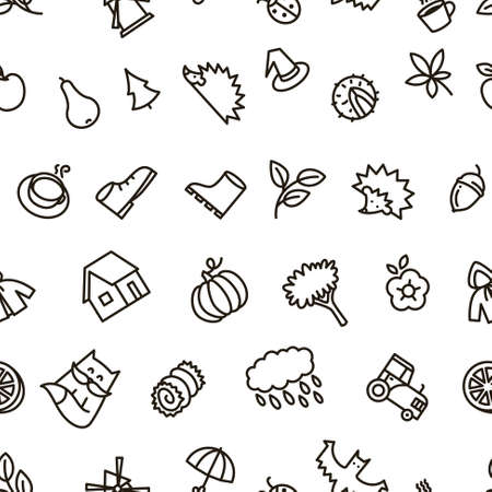 balck: Fall season balck and white cute vector seamless pattern in line art style