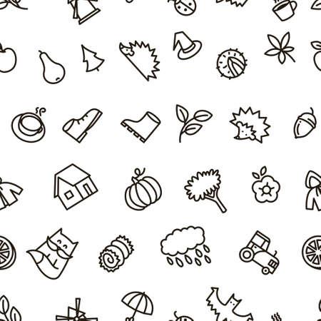 balck: Fall season balck and white cute vector seamless pattern in line art style