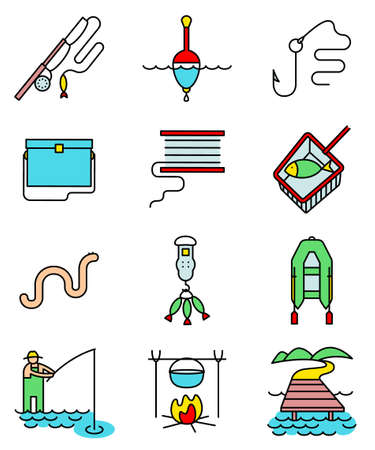 tackle box: Fishing hobby line art thin and simply colorful icons set. Collection of minimalistic signs with fisherman with rod, tacle, fish, worm, landscape with lake and pier, net, bobbin with reel, inflatable boat with oars, hook and float illustration